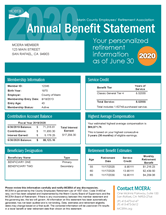 Sample annual benefit statement